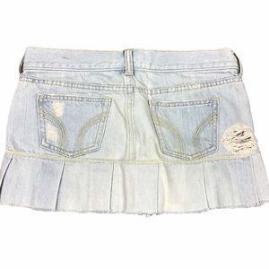 Hollister Pleated Hem Jean Mini Skirt
